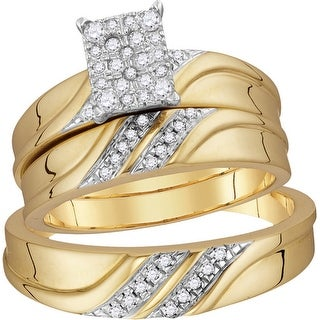 10k Yellow Gold Natural Diamond Cluster Matching Trio His Hers Wedding Ring Band Set 1/3 Cttw - White