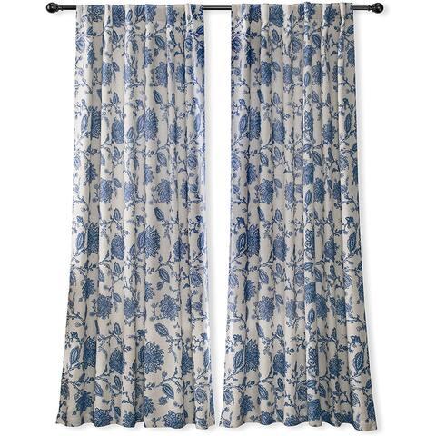 DriftAway Freda Jacobean Floral Linen Blend Lined Blackout Back Tabs Window Curtains