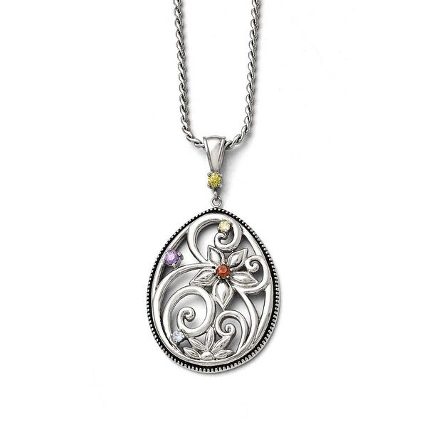 Chisel Stainless Steel Polished/Antiqued Multicolor CZ with 1.75in ext. Necklace - 18 in