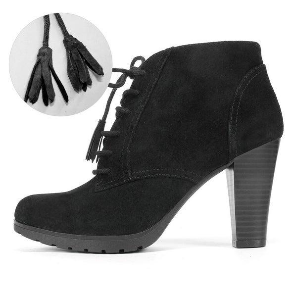 White Mountain Womens Shauna Leather Almond Toe Ankle Fashion Boots