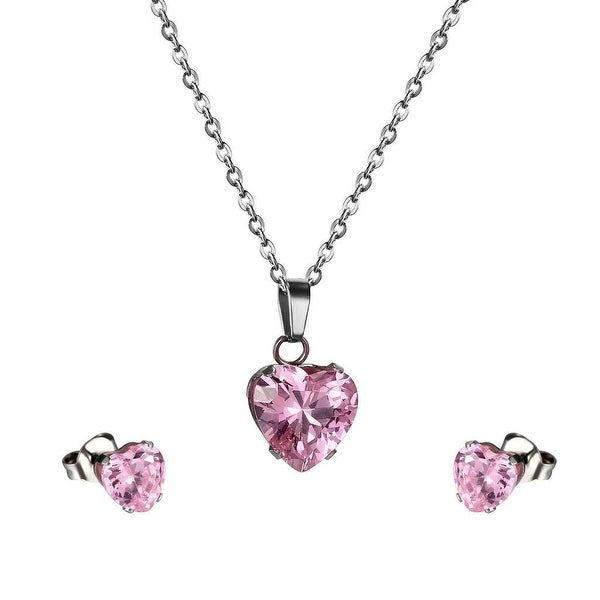 "Pink Solitaire Heart Pendant CZ Earrings Stud Stainless Steel 18"" Chain Ladies"