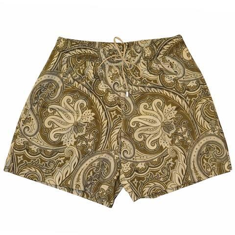 Brioni Mens Gold Paisley Print Swim Shorts M