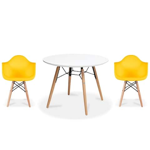 2xhome Modern Accent Kids Toddler Children Arm Chair and Round Table Combo with Eiffel Natural Wooden Legs for Dining Class Room