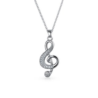 Bling Jewelry Musical Note Pave CZ Rhodium Plated Pendant Necklace 16 Inches