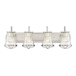 "Designers Fountain 87004 Darby 4 Light 30"" Wide Bathroom Vanity Strip Light with Seedy Glass Shade"