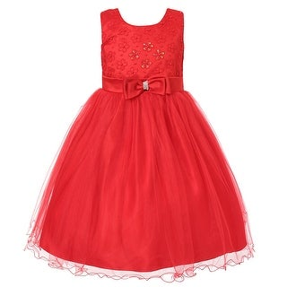 Richie House Girls' Princess Dress with Mesh and Bow