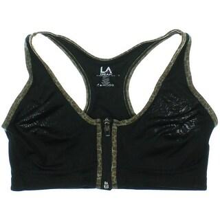 LA Gear Womens Maximum Support Zip Front Sports Bra - L
