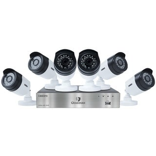 Uniden G6860D2 1080p DVR, 6 1080p Cameras with 100' Night Vision, Surveillance Recorder, White