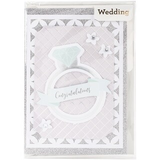 "American Crafts Single Greeting Card W/Envelope 5""X7""-Congratulations Diamond W/Glitter & Foil"