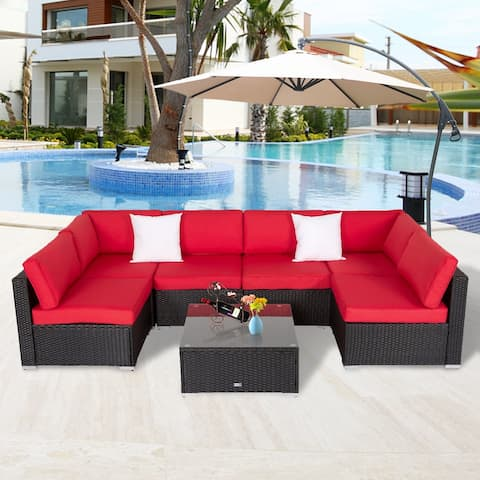 Kinsunny Outdoor Sectional Sofa, All-Weather Patio Furniture Rattan Wicker Sofa Set, Cushioned Conversation Set, Red
