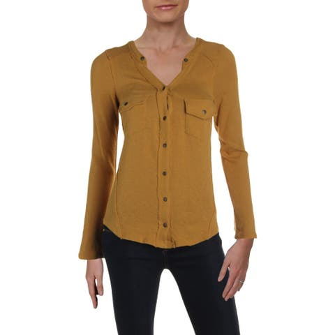 We The Free Womens Button-Down Top Knit Long Sleeves