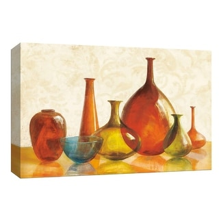 """PTM Images 9-153688  PTM Canvas Collection 8"""" x 10"""" - """"Colorful Glass Vessels on Ivory"""" Giclee Entertainment Art Print on Canvas"""