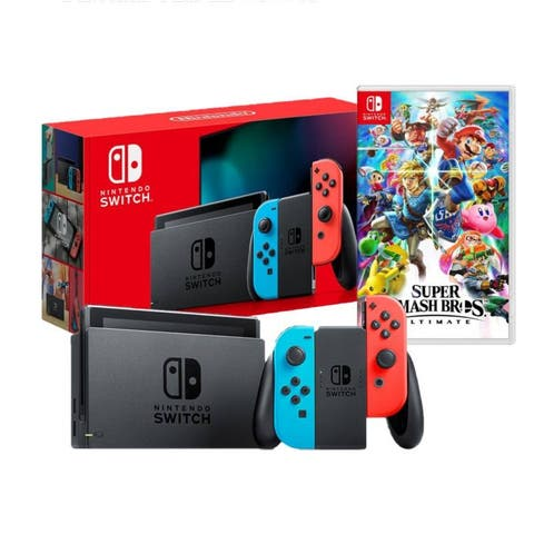 New Nintendo Switch Red/Blue Joy-Con Improved Battery Life Console Bundle with Super Smash Bros. Ultimate