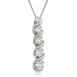 1.00 cttw. 14K White Gold Round Cut Diamond Five-Stone Swirl Journey Pendant