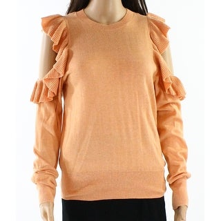 Abound Orange Women Small S Cold-Shoulder Ruffle-Sleeve Knit Sweater