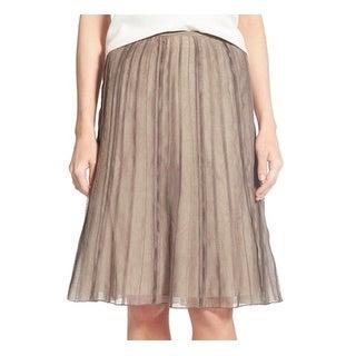 Nic+Zoe NEW Brown Women's Size 14P Petite Batiste Flirt A-Line Skirt