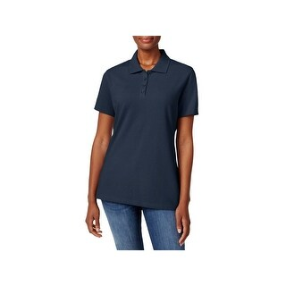 Karen Scott Womens Petites Polo Top Pique Collared