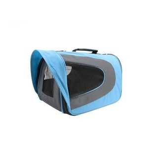 Light Blue, Black and Gray Oxford Pet Carrier Bag with Shoulder Strap - Small