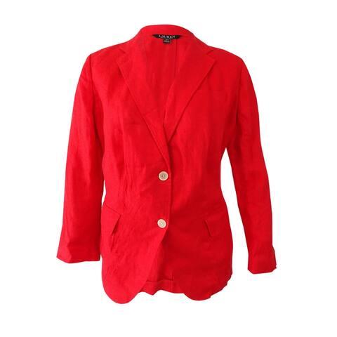 Lauren Ralph Lauren Women's Plus Size Three-Button Jacket (18W, Deco Coral) - Deco Coral - 18W