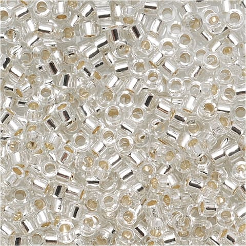 Miyuki Delica Seed Beads 15/0 Silver Lined Crystal DBS041 4 Grams
