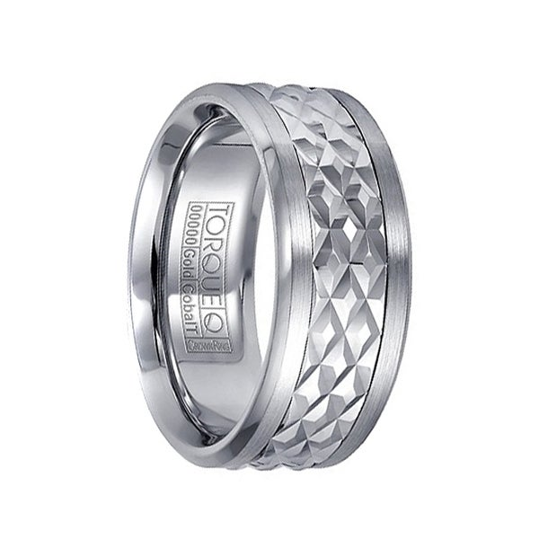 Carved Diamond Pattern 14k White Gold Center Men's Cobalt Wedding Ring by Crown Ring - 9mm