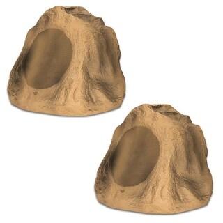 """Acoustic Audio B6RS Sandstone 6.5"""" Rock Speaker Pair Weatherproof Speakers"""