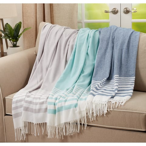 Throw Blanket with Striped Design