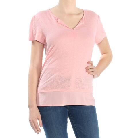 Sanctuary Flamingo Pink Women's Size Large L V neck Knit Top T-Shirt