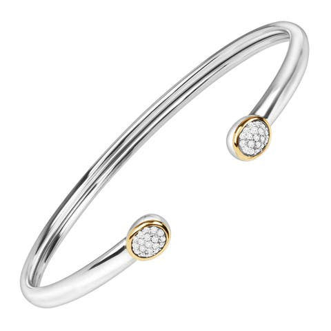 1/5 ct Diamond Circle Cuff Bracelet in Sterling Silver & 14K Gold