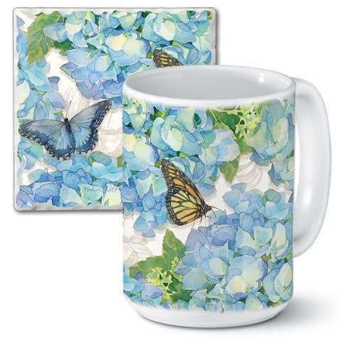 Counterart 15 Oz Ceramic Mug & Absorbent Stone Coaster Gift Set - Garden Hydrangea - 9x6x4.022