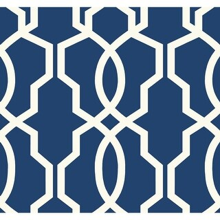 York Wallcoverings GE3668 Ashford Geometrics Hourglass Trellis Wallpaper - Dark Blue/White - N/A