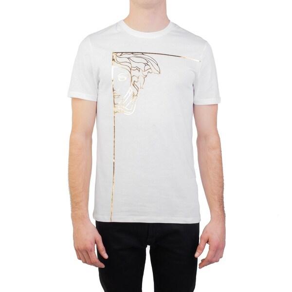 498b2a97 Versace Collection Men's Cotton Angular Medusa Graphic T-Shirt White  Gold