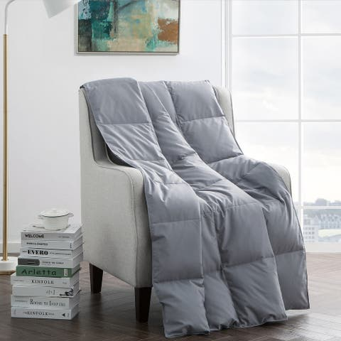 Ultra Lightweight Grey Down Filled Throw Blanket