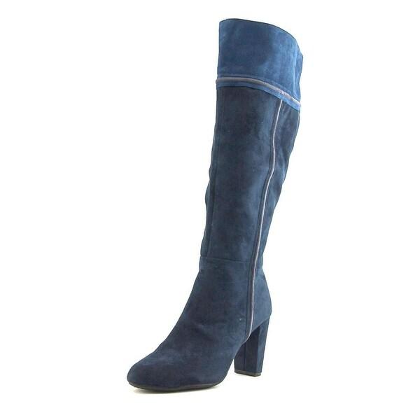 Rialto Cordelia Women Round Toe Canvas Blue Knee High Boot