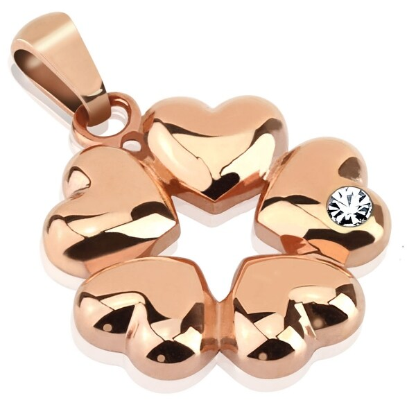 Five Hearts with CZ Rose Gold IP Over Stainless Steel Pendant (20 mm Width)