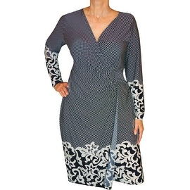 Funfash Plus Size Clothing Midnight Blue White Slimming Wrap Dress Made in USA
