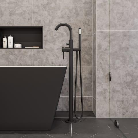Black Matte Single Lever Floor Mounted Tub Filler Mixer w Hand Held Shower Head