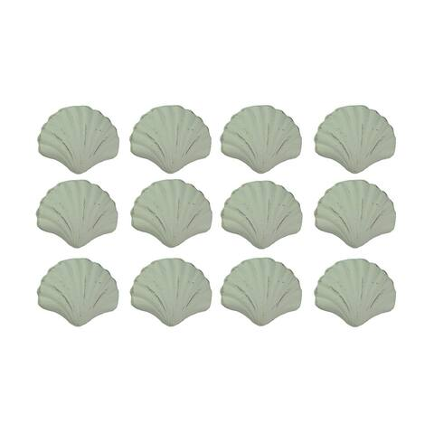 Set of 12 Distressed Finish Coastal White Cast Iron Scallop Shell Drawer Pulls - 2 X 2.5 X 1 inches