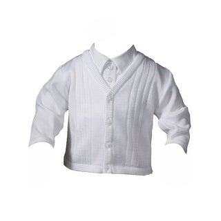 Baby Boys White Cotton Satin Acrylic Special Occasion Sweater
