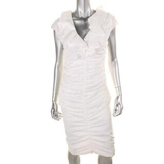 Catherine Malandrino Womens Poplin Ruched Party Dress - 4
