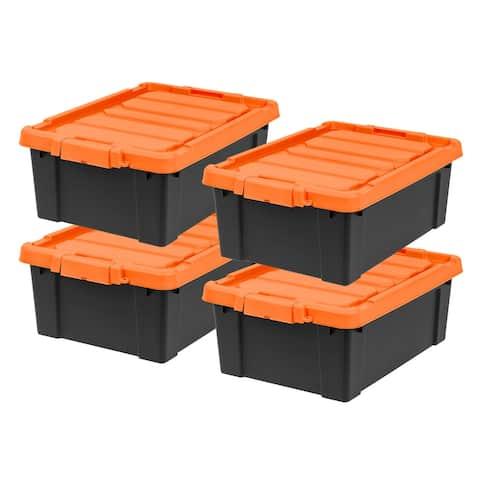 IRIS 11 Gal. Store-It-All Storage Tote in Black (4-Pack)