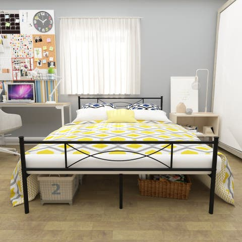 Simlife Easy to Set -up Twin/Full/ Queen Metal Bed Frame