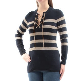 Womens Navy Striped Long Sleeve V Neck Top Size M