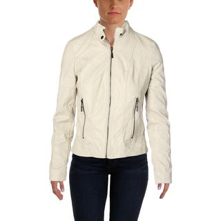 Studio M Womens Faux Leather Seamed Motorcycle Jacket - XS