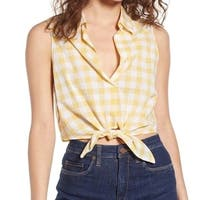 Lush Yellow Womens Size XXL Checkered Tie Front Button Down Knit Top