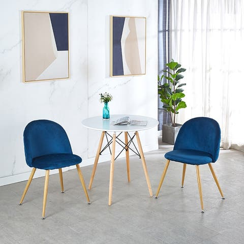 Modern Blue haze Dining Chair set of 2 ),metal tube transfer wood color and floor protection