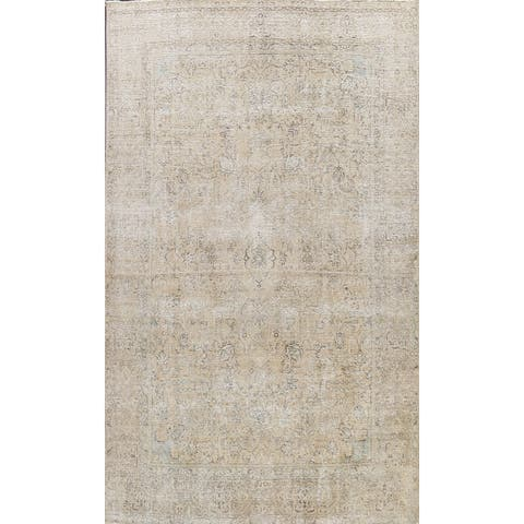 "Distressed Tabriz Persian Dining Room Area Rug Wool Hand-knotted - 8'7"" x 12'9"""