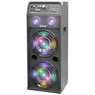 Pyle Pro 1400 Watt Disco Jam Powered Two-Way PA Speaker System w/ USB & SD Readers FM Radio