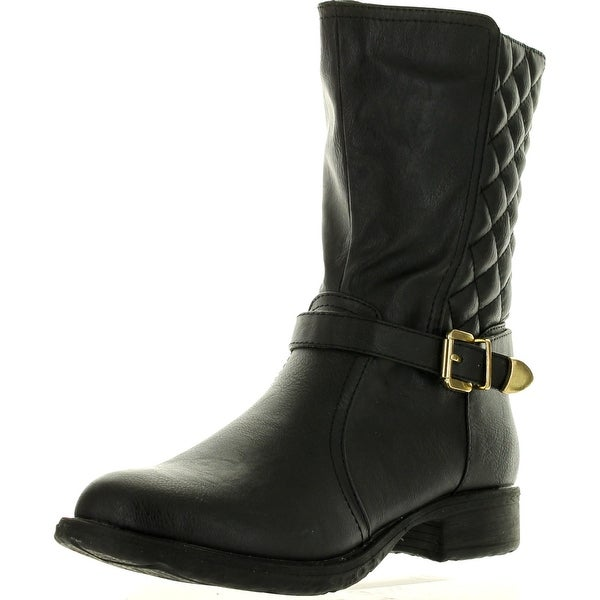 Cape Robin Womens Nowa01 Block Heel Quilted Back Shaft Side Zip Ankle Booties