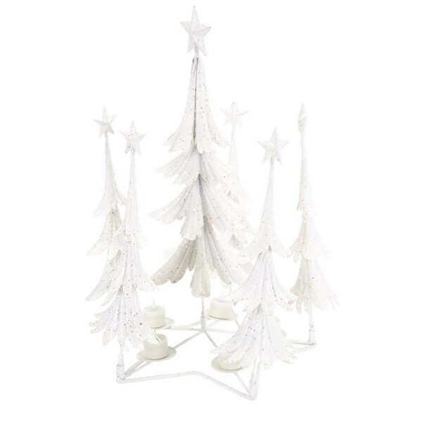 "21"" White and Silver Glittered Christmas Tree Tea Light Candle Holder Centerpiece"